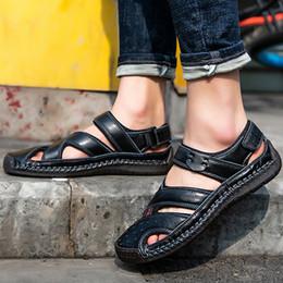 Black Leather Sandals For Men Australia - Large Size 45-48 Leather Sandals Men Clogs Comfortable Beach Sandal Male Zipper Sewing Soft Hollow Walking Shoes For Men
