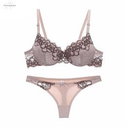 SeamleSS bra pantieS online shopping - End New Arrival Lace Bra Set Push Up Underwear Set Lace Panties Thin Thick Cup Hollow Women Intimates Bras Lingerie