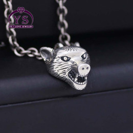 Necklaces Pendants Australia - Chi 925 sterling silver ancient home tide brand Anger Forest series wolf head silver necklace wild AJ men and women models