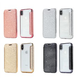 TransparenT flip cover s6 edge online shopping - Luxury Designer Flip Leather Glitter Phone Case for SAMSUNG GALAXY S10 S10E S8 S9 Plus S7 S6 Edge Cases Shell Transparent Tpu Back Cover