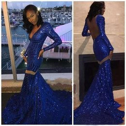 one sleeve prom dresses sparkly Australia - Sparkly Royal Blue Sequins Prom Dresses 2019 Mermaid V Neck long sleeve Party Evening Wear African Party Gowns