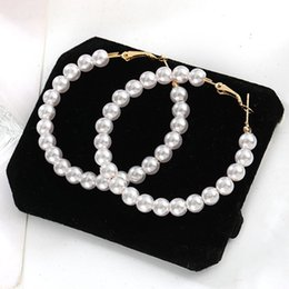 Statement Vintage Pearls Australia - Fashion Exaggrated Simulated Pearls Big Circle Statement Earrings For Women Vintage Loop Round Earrings With Pearl Jewelry Gift