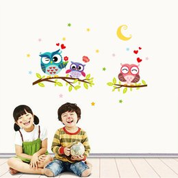 Wholesale Creative Pvc Wall Stickers Cartoon Animal Owl Decals For Kids Rooms Living Room Bedroom Large Removable Wallpaper Diy Home Decor
