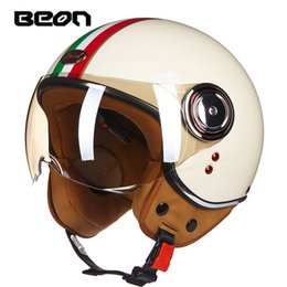 motorcycle scooter jet helmet Canada - BEON Motorcycle 3 4 Half Face Helmet Scooter Moto Helmet Jet Vintage Retro Headgear ECE Approved Casco With Windproof Visior