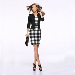 Lady S Dresses Australia - Office lady pencil dress fake two-piece three-point sleeves Slim bag hip plaid work dress female large size S-3XL belt
