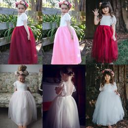 $enCountryForm.capitalKeyWord NZ - INS Girls Skirt Summer Lace Dress Children Short Sleeve Gauze Tulle Skirt Kids Middle Length Princess Dresses Little Girls Clothing A2205