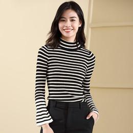 $enCountryForm.capitalKeyWord Australia - Suit-dress Jacket Horn Sleeve Knitting Unlined Upper Garment Self-cultivation Rendering Sweater Stripe Split Joint Sweater Woman
