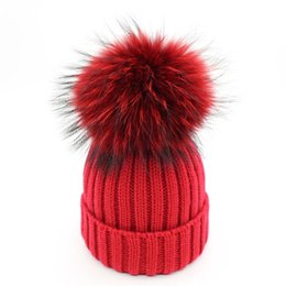 $enCountryForm.capitalKeyWord NZ - Colorful faux Raccoon fur pom poms hats knitted Warm Skullies Beanies caps for women girls kids winter ski hats bonnet black red