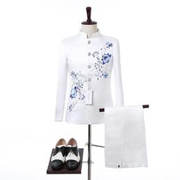 $enCountryForm.capitalKeyWord UK - Crazy2019 Men Wedding Suits Alien Porcelain Embroidered Design Groomsmen White Shawl Lapel Groom Tuxedos Tuxedo Wedding Prom Suits
