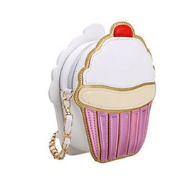 cupcake easter UK - 2020 Ice Cream Bag Fashion 2D Funny Ice Cream Cupcake Handbag Messenger Zipper Bag Purse Crossbody Splicing Messenger Body Key Bag