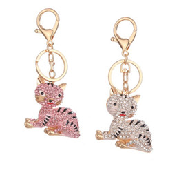 Discount diy cat bag - GENBOLI DIY Heart Keychain Cute Cat Crown Crystal Key Holder Metal Key Chain Keyring Charm Bag Car Pendant Gift Wholesal