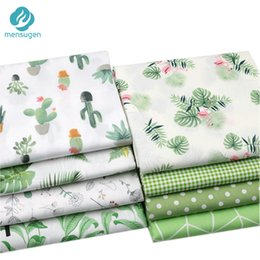 Wholesale sewing bedding resale online - Green Cactus Leaves Polka dots Printed Cotton Fabric Meters for Dresses Cushions Blanket Sewing Cloth Bed Sheet Textile