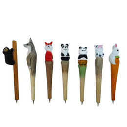 $enCountryForm.capitalKeyWord UK - Cartoon Animal Gel Pen Wood Carving Animal Crafts Wooden Pen Holiday Gift Wooden Ornaments Blue Black Signature Pen 57