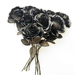 felt flower bouquet NZ - 10pcs lot Black Rose Artificial Silk Flowers Simulation Bouquet Real Feel Home Wedding Background Decorative Flower Arrangement T8190626