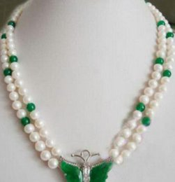 pearl green NZ - necklace Hot sale new Style >>>>>2 Rows Genuine White Pearl Green Jade Crystal Butterfly Pendant Necklace