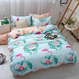 $enCountryForm.capitalKeyWord Australia - Free shipping Gift Tropical Plant Flower Flamingo Bird Print Green Home Dorm bedding set Quilt duvet Cover pillowcase Twin full Queen King