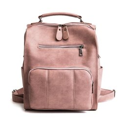 Backpack Solid Australia - good quality 2019 Women Small Backpack Pu Leather Solid Big Capacity Backpack Cute School Bags Girls Fashion Shoulder Backpacks
