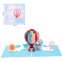 post card envelope wholesale Australia - Birthday card Hot Air Balloon Card 3D Handmade Greeting Card With Envelopes For Families Friends Colleagues