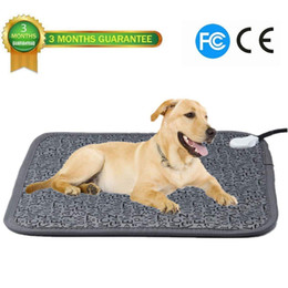 Wholesale 110V Pet Electric Heating Pad for Dog and Cat Adjustable Waterproof Anti bite Steel Cord Dog Large Warm Bed Mat Heated Suitable for Pets