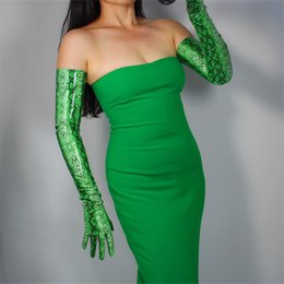Over glOves online shopping - Snakeskin Extra Long Gloves cm Over Elbow Simulation Leather Woman PU Gloves Bright Leather Green Snake Animal P1370