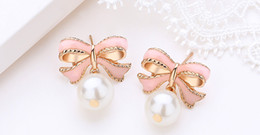 pearl bow dangle earrings Australia - New Hot Fashion Cute Pink Bow Stud Earrings For Women Girls Party Upscale Imitation Pearl Earrings Jewelry Gifts Wholesale