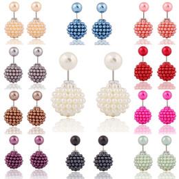 Toptan satış Kadın Kızlar için küpe Marka Yeni Kore Çift Inci boncuk kil Kristal Top Marka Yeni Moda Iki Biter Inci Çiviler Küpe