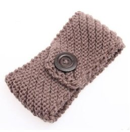 Chinese  New Women's Fashion Wool Buttons Crochet Headband Knit Hair band Flower Winter Ear Warmer headbands for women A1162 manufacturers