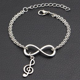 music note bangle NZ - 2019 Hot Trendy Infinity Music Note Charm Pendant Bracelets & Bangles for Women Men Delicate Silver Color Double Chain Handmade Jewelry Gift