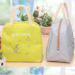 Wholesale Cute Cartoon Animal Print Lunch Bags Women Portable Functional Canvas Insulated Thermal Picnic Kids Cooler Lunch Box Bag Tote