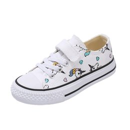rainbow canvas prints Canada - 2019 Fashion Kids Unicorn Canvas Sneakers Rainbow Vulcanized Shoes Hook & Loop Big Boys Shoes Girls Flat Footwear Sport Trainers
