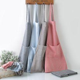 Delantal de rayas de tela escocesa Delantal de cocina ajustable Delantal de cocina de cocina unisex con bolsillos Herramienta de limpieza para hornear Craft Craft WX9-1310 en venta