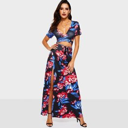 $enCountryForm.capitalKeyWord UK - Blue Flower Women Suits Sets Sexy Club Beach Holiday Deep V Crop Tee Top Lace Up Split Maxi Long Skirt Two Piece Suit Set C19041501
