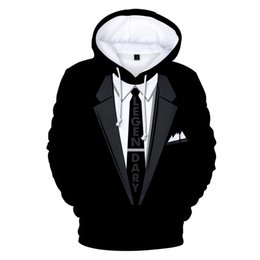 Funny Suits Australia - New Funny 3d Tie Printed Black Hoodie Sweatshirts Men Women Couple Streetwear Suit Long Sleeves Tracksuit 3d Fashion Hoodies