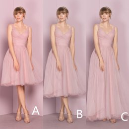 4aabe9c3d Cheap Mismatched Pink Tulle Bridesmaid Dresses Different Style Latest 2019  V Neckline Simple Straps Tea Length Short Wedding Guest Dress