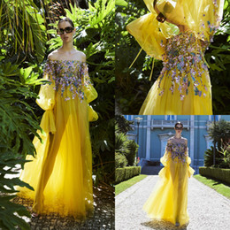 LiLac Long summer dress online shopping - 2020 Yellow Prom Dresses Bateau Neck Lace D Floral Flowers Beads Sequins A Line Fairy Evening Gowns Floor Length Special Occasion Gowns