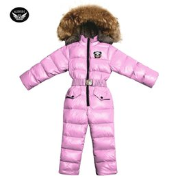 pink snow suit NZ - Children's Down Jacket Jumpsuit -30 degree Russian Winter Girls Ski Suit Thick Boys White Duck Down Jumpsuit Kids Snow Suit