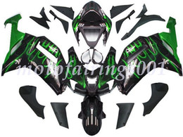 custom zx636 Australia - 4Gifts Free Custom New ABS Bodywork set Fairings kits Fit For KAWASAKI Ninja ZX-6R ZX-636 ZX636 ZX6R 2007 2008 ZX 636 Black Green Flame
