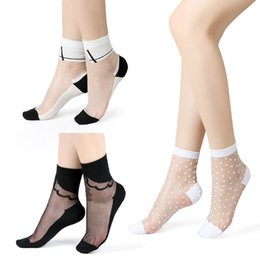 Mesh Fiber Australia - Sexy Lace Mesh Fishnet Socks Mixed Fiber Transparent Stretch Elasticity Ankle Net Yarn Thin Women Cool Socks 1pair=2pcs 2305
