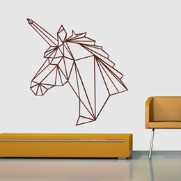 unicorn wall sticker NZ - marki Black Large unicorn Geometric Wall Sticker Removable Double Sided Visual Pattern Home Decoration House Wallpaper free shipping wn632A