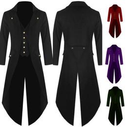 Victorian Coats Australia - New Men Gothic Tailcoat Jacket Steampunk Vintage Style Victorian Coat Uniform