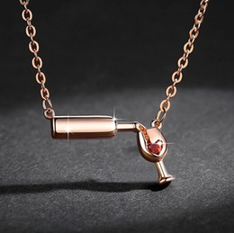 Wholesale White Gold Filled Wine Glass Pendant Necklace Ladies Wine Beer Bottle Necklaces Silver Gold Rose Gold