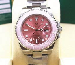 Pink ceramic watch online shopping - Mens Mechanical Pink Dial Watch Men Ceramic Bezel Baselworld Dive Chronometer Crystal Steel Watches Sport Sub Perpetual Wristwatches