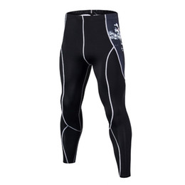 wholesale mens jersey UK - New Fashion Mens Compression Pants 3D Print Quick Dry Skinny Bodysuit Leggings Tights Fitness MMA Pants Trousers