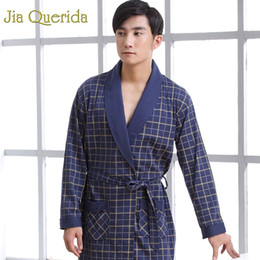 black cotton bathrobe UK - Mens Robe Cotton Long Sleeve Navy Nightgown Peignoir Bathrobe Plaid Bathrobe Bath Kimono Robe Yukata Mens Cotton Sleepwear Robes CX200622