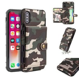 Luxury Credit Card Iphone Australia - Luxury Camouflage Flip Phone Case with Credit Card Slot Shockproof For iPhone 6 7 8plus x xr xsmax Function Wallet Button Phone Cover Shell