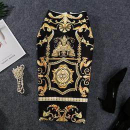Knee length slips online shopping - 2019 New Coming European Women Summer Print Pencil Skirt High Stretch Abstract Pattern Midi Slip Hip Skirt Female