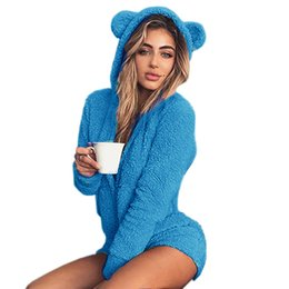 $enCountryForm.capitalKeyWord Australia - Kawaii Sweet Fleece Hoody Cat Ear Body New Jumpsuits Women Solid Lady Cute Shorts Rompers Playsuit Home Service Jumpsuits M0003 S190423