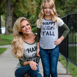 mother daughter matching top Canada - Family t shirt Mother and daughter matching clothes Women Kid girl Long Sleeve Top Summer Autumn Tee shirt Basic Outfits