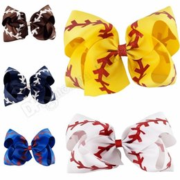 Girl's Accessories 4 Inch Top Rhinestone Softball Baseball Hairpins Leather Flower Hairclips Handmade Women Girls Hair Bows Strong Resistance To Heat And Hard Wearing Girl's Hair Accessories