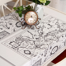 $enCountryForm.capitalKeyWord NZ - World Map Navigation Route Table Cloth European Nordic Retro Style Home Decorative Table Cloth Good Quality Linen Cotton Tablecloth